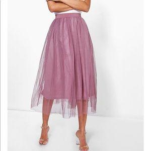 Tulle Mesh Midi Skirt